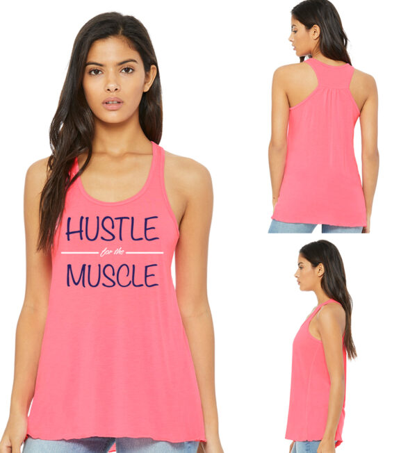 Hustle for the Muscle Neon Pink Tank