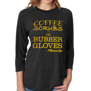 Coffee Scrubs & Rubber Gloves Black 3/4 Sleeve Front