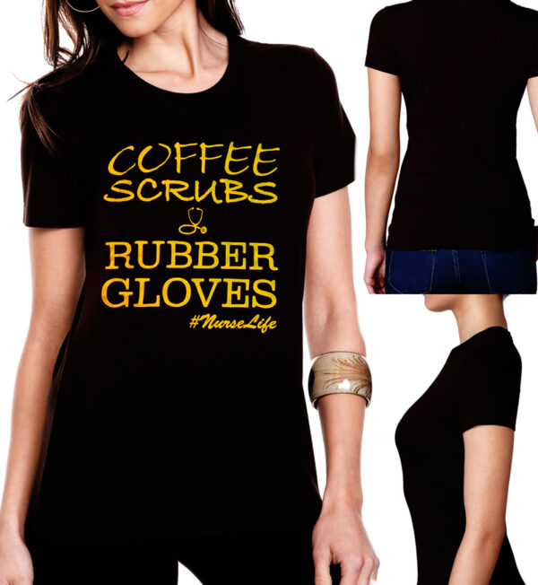 Coffee Scrubs & Rubber Gloves Black Tee