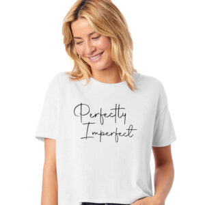Perfectly Imperfect White Cropped T-Shirt Front